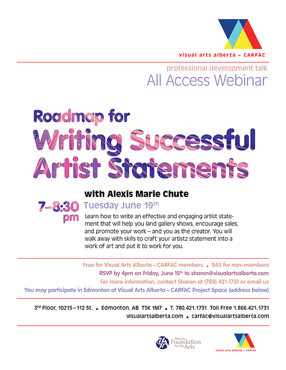Poster for Roadmap for Writing Successful Artist Statements with Alexis Marie Chute