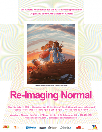 Poster for Re-Imaging Normal: An Alberta Foundation for the Arts travelling exhibition Organized by the Art Gallery of Alberta