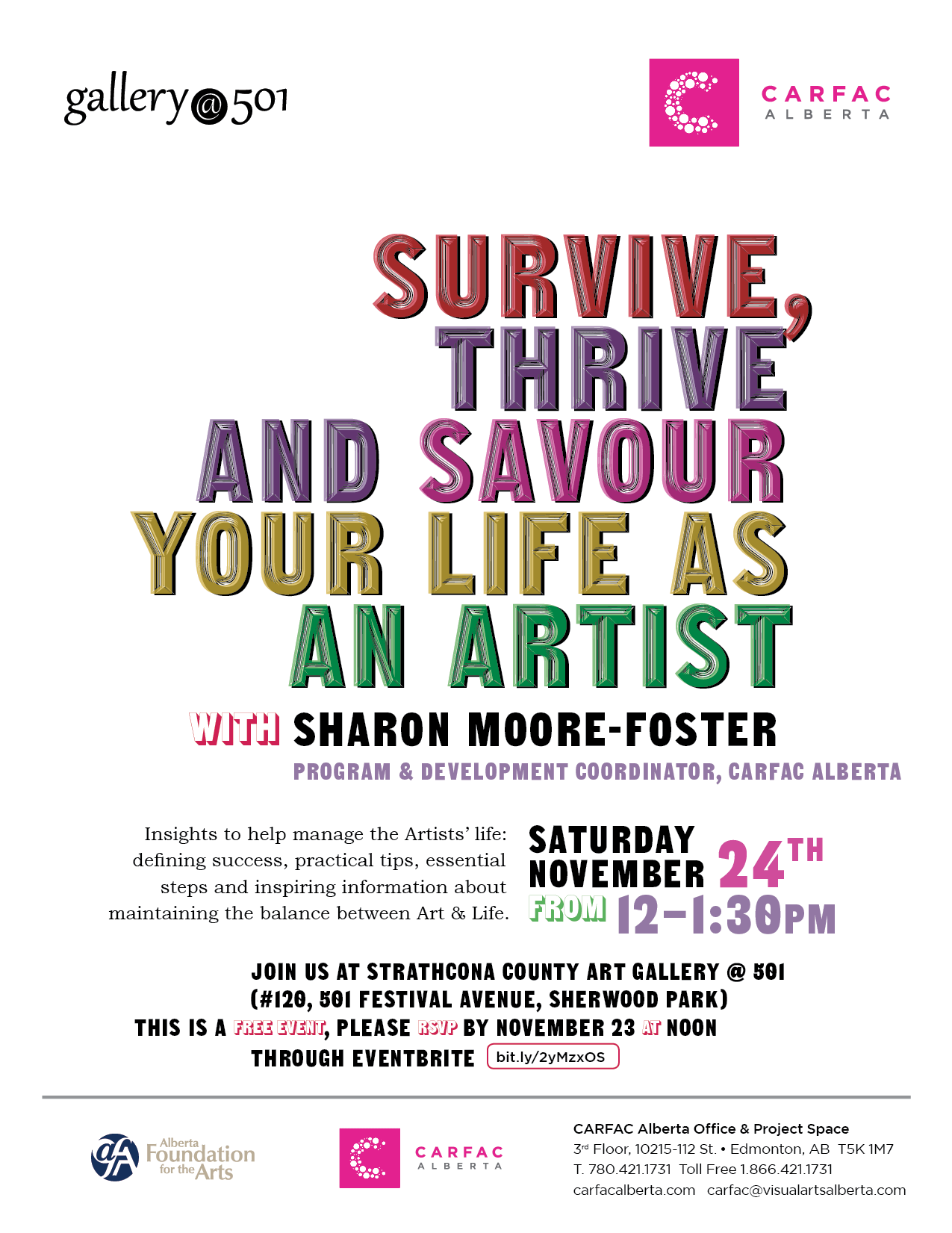 Poster for Survive, Thrive and Savour Your Life as an Artist with Sharon Moore-Foster